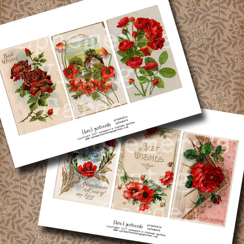Floral Postcards - Red