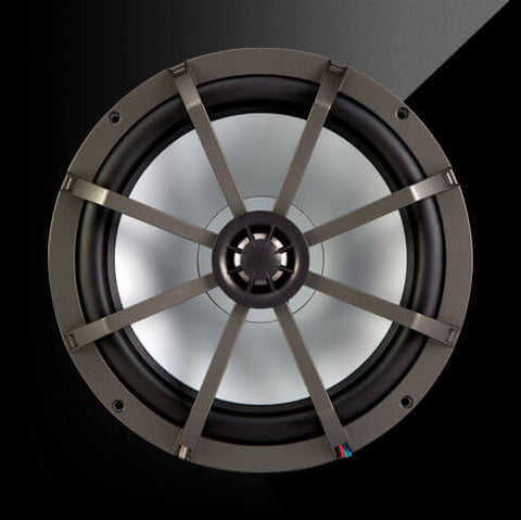 "Kicker 43KM84LCW - KM 8"" 4Ω LED Lit Coaxial - KM8 8-Inch (200mm) Marine Coaxial Speakers w/ 1-Inch (25mm) Tweeters, Multi-Color LED, Charcoal and White Grilles, 4-Ohm"