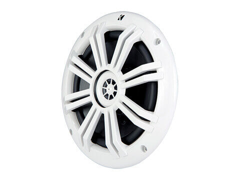 "Kicker 41KM604W - KM 6.5"" 4Ω Coaxial - KM60 6.5-Inch (160mm) Marine Coaxial Speakers w/1/2-Inch (13mm) Tweeters, White, 4-Ohm."