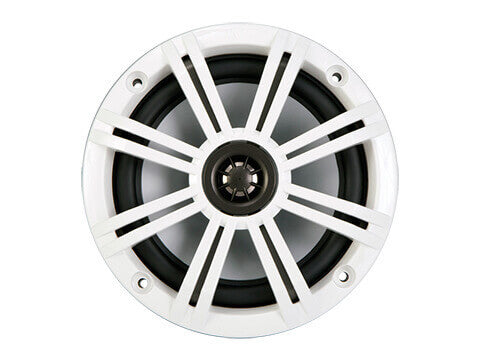 "Kicker 41KM654CW - KM 6.5"" 4Ω Coaxial - KM65 6.5-Inch (160mm) Marine Coaxial Speakers w/ 3/4-Inch (20mm) Tweeters, Charcoal and White, 4-Ohm."