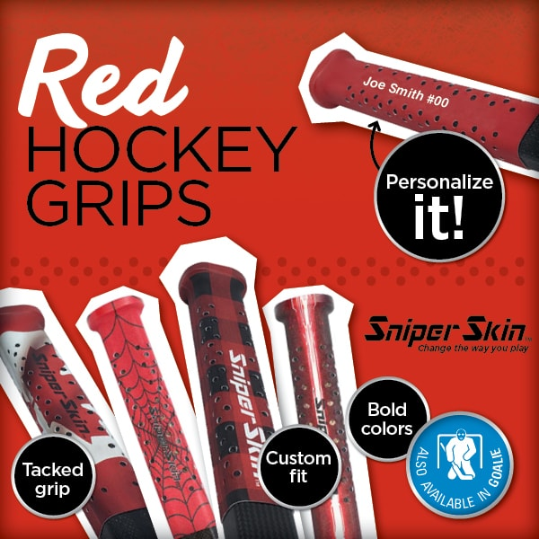 RED HOCKEY GRIPS