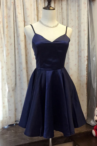 Simple Navy Blue Satin A-line V-neck Short Prom Dress, Homecoming Dress, Bridesmaid Dresses