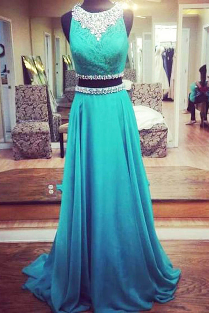 2019 Prom Dresses | Blue chiffon two pieces round neck sequins beading long prom dresses, evening dresses