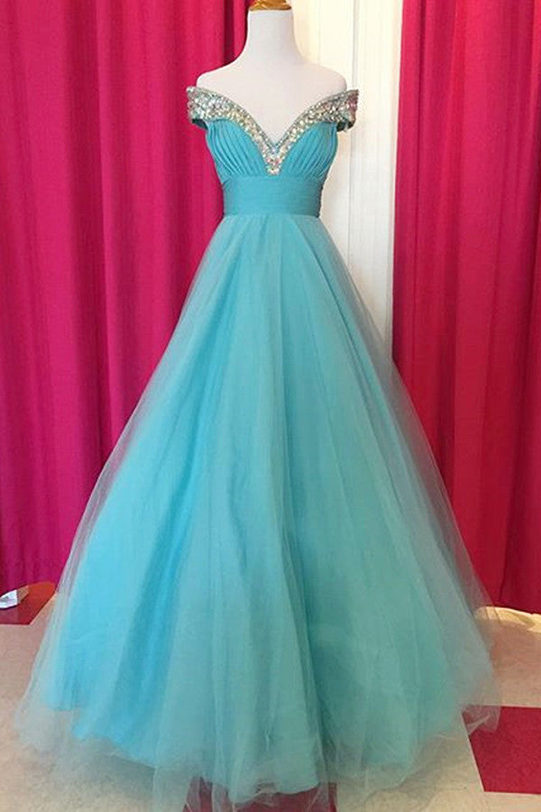 Baby blue organza V-neck off-shoulder A-line princess long evening dresses ,long promdress for teens - occasion dresses by Sweetheartgirls