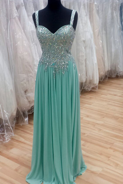 Green chiffon sequins beading long prom dresses,evening dress with straps - occasion dresses by Sweetheartgirls