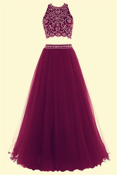 Fuchsia organza two pieces sequins round neck long evening dresses,cute A-line dress - occasion dresses by Sweetheartgirls