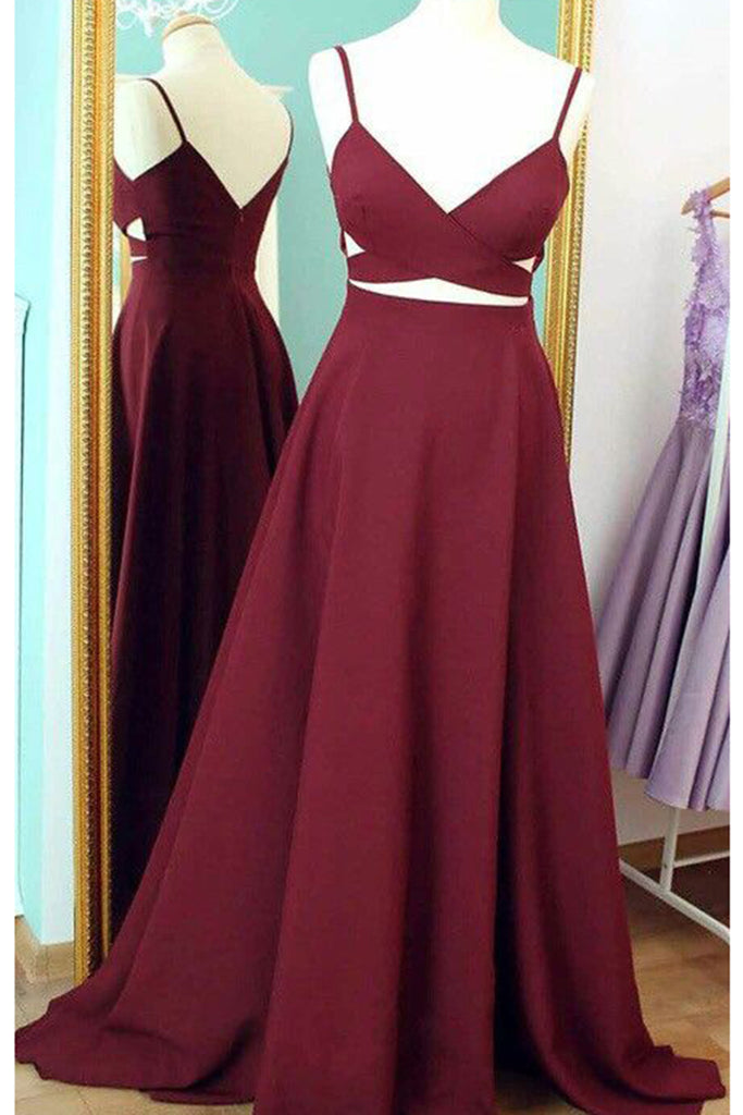 Wine chiffon V-neck A-line simple cheap long prom dresses for teens with straps - Sweetheartgirls