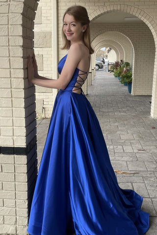 Simple Royal Blue Satin Open Back Long A Line Prom Dress, Evening Dress