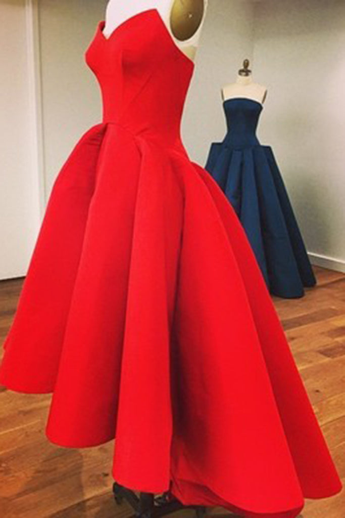 Red matte satin sweetheart A-line high low dresses ,cute prom ...
