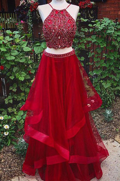 2018 evening gowns - Luxury red tulle beading two pieces halter A-line long prom dresses ,new design dresses