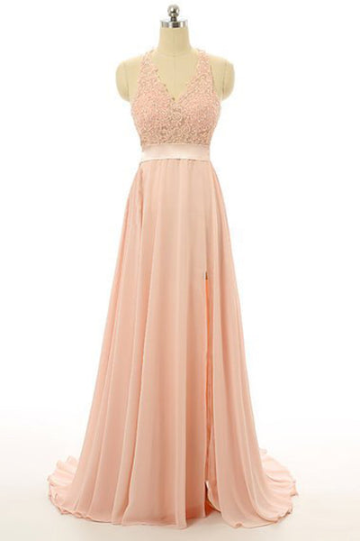 Light orange chiffon lace V-neck backless slit A-line long prom dress,formal dresses - occasion dresses by Sweetheartgirls