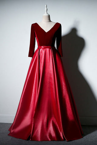 2021 Burgundy Satin Velvet Long Sleeve Prom Dress, Formal Dresses
