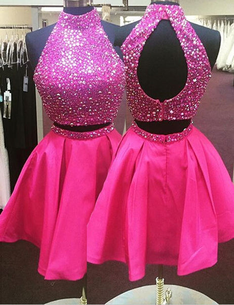 Prom 2020 | Hot pink chiffon  A-line halter shining sequinscute short prom dress,party dress