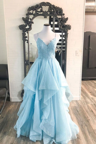 Baby Blue Tulle Lace Spaghetti Straps Long V Neck Prom Dress Formal Dress Party Dress