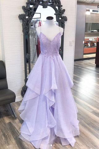 Lavender Tulle Lace Spaghetti Straps Open Back Long V Neck Prom Dress Formal Dress Party Dress