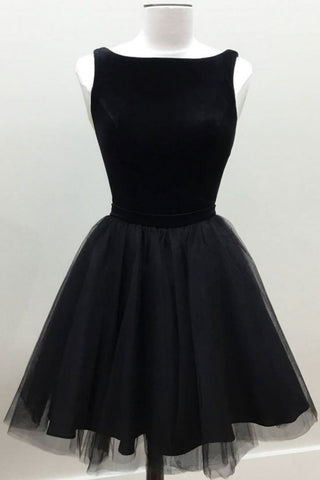 Simple Black Tulle Short Prom Dress, Homecoming Dress, Party Dress