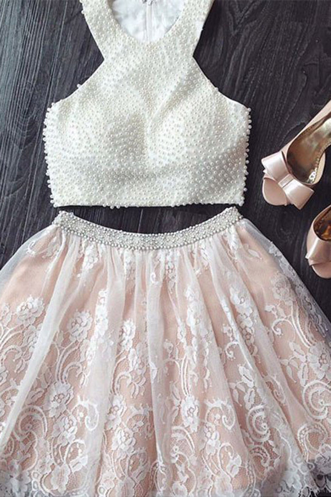 White lace two pieces pearl beading halter A-line short prom dresses for teens - prom dresses 2018