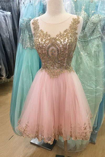 2019 Prom Dresses | Beautiful pink organza gold lace applique sequins A-line short dress,cute party dress