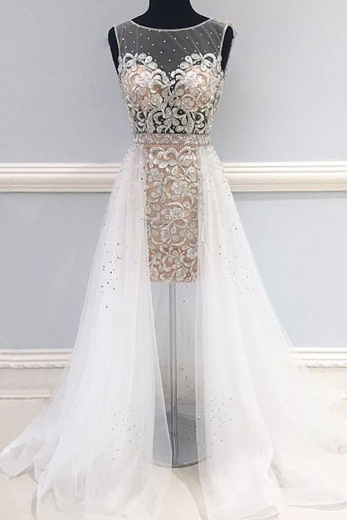 2019 Prom Dresses | Beautiful tulle lace applique see-through A-line long evening dresses unique prom dress