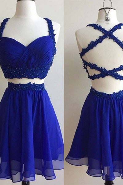 2018 evening gowns - Navy blue chiffon A-line cross back short prom dress,simple two pieces dress for teens