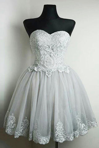 Simple gray tulle short lace prom dress, A-line homecoming dress