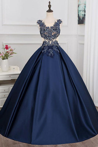 Dark Blue Satin Lace Applique Long Dress A Line Formal Prom Dress