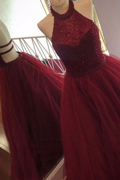 2018 evening gowns - Burgundy organza halter backless sequins A-line long prom dresses,graduation dresses