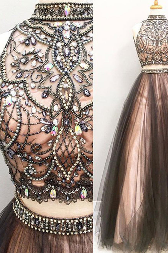 2019 Prom Dresses | Chocolate tulle two pieces see-through A-line beaded long evening dresses