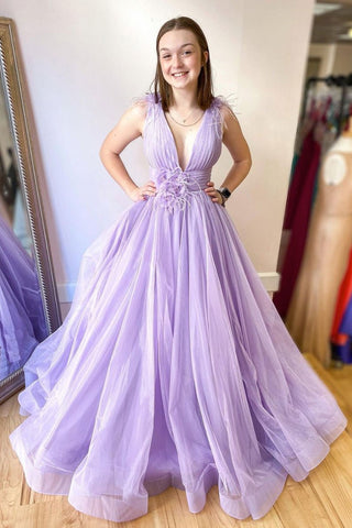 Lavender Tulle V Neck Long A Line Prom Dress, Evening Dress With Appliques