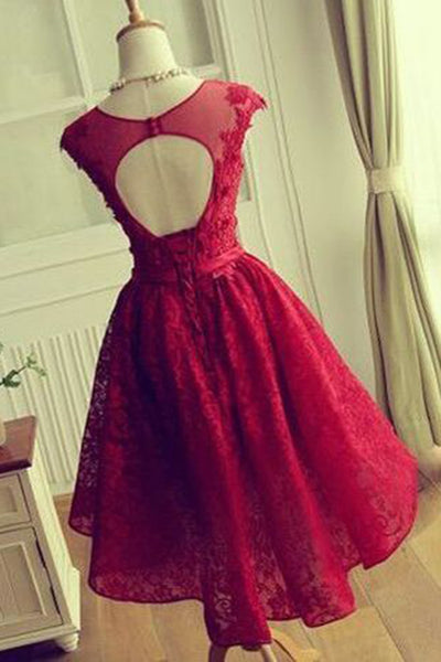 Cute red lace A-line open back round neck cap sleeves short dress,  see-through mesh prom dress - occasion dresses by Sweetheartgirls