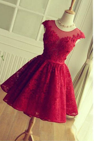 Prom 2020 | Cute red lace A-line open back round neck cap sleeves short dress,  see-through mesh prom dress