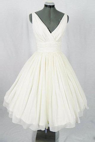 Sweet 16 Dresses | White chiffon V-neck A-line short dress,simple cheap short prom dresses