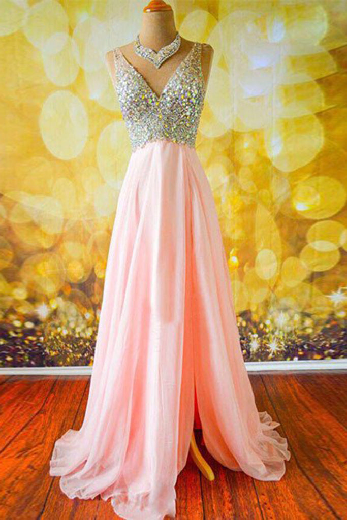 Sweet 16 Dresses | Pink chiffon V-neck sequins slit A-line long prom dress,shining sequins beading evening dress