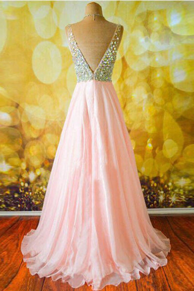 Pink chiffon V-neck sequins slit A-line long prom dress,shining sequins beading evening dress - occasion dresses by Sweetheartgirls