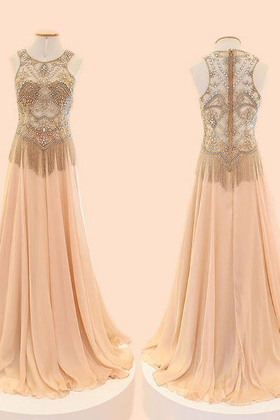 2019 Prom Dresses | Champagne chiffon beading sequins round neck see-through A-line long prom dresses for teens