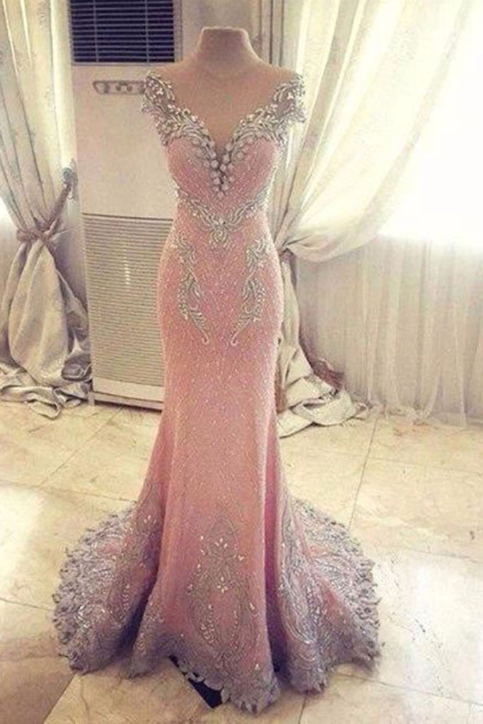 2017 luxury pink chiffon sequins beaded see-through mermaid long evening dresses - prom dresses 2018