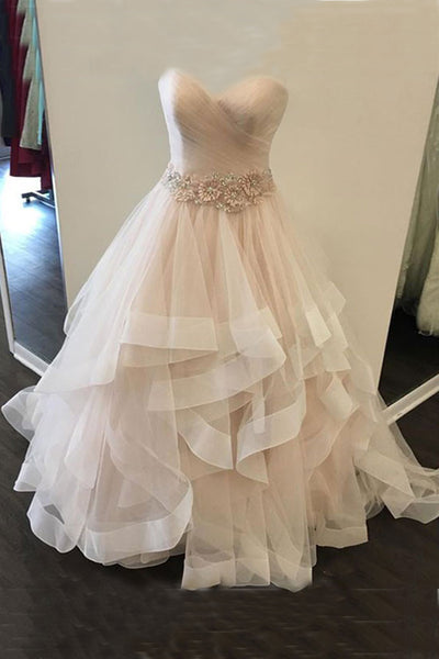 Sweet 16 Dresses | Sweetheart champagne tulle long layer prom dress, 3D flower sash evening dress