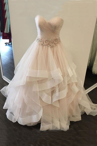 Sweetheart champagne tulle long layer prom dress, 3D flower sash evening dress