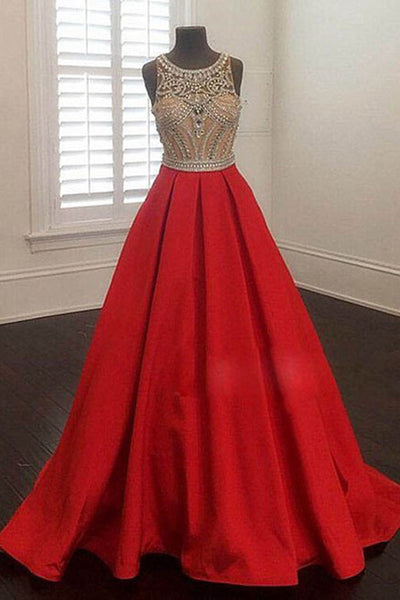 2018 evening gowns - 2017 luxury red chiffon beaded round neck A-line long evening dresses for teens