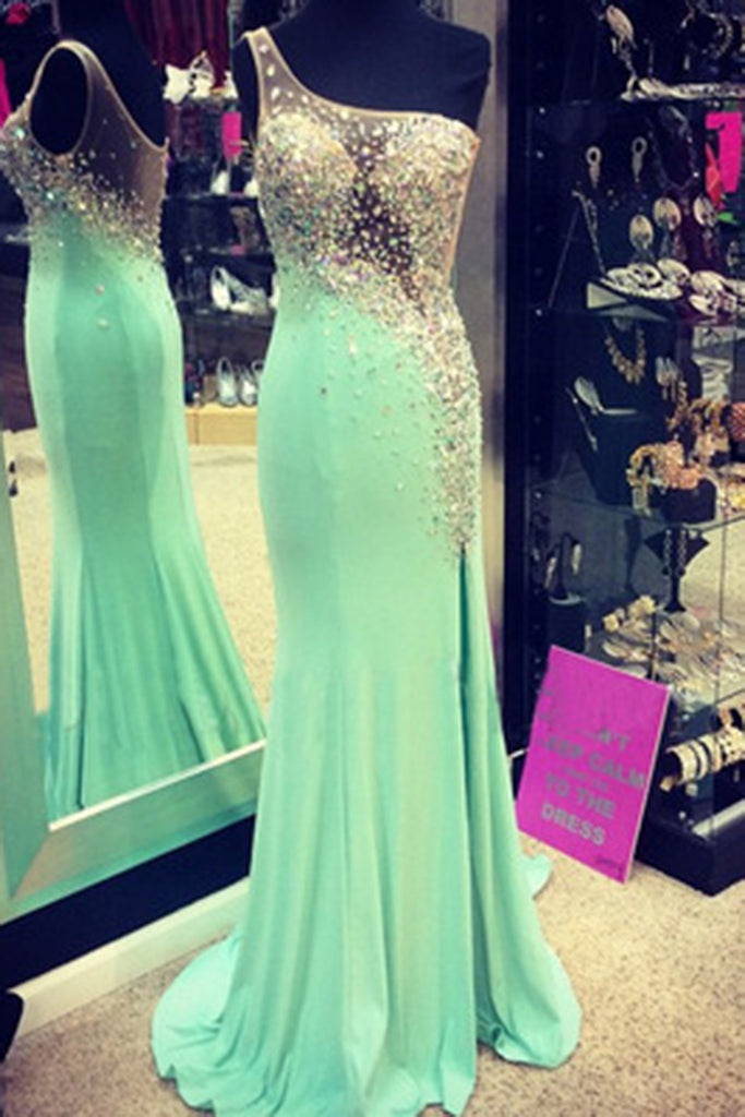 Prom 2020 | Light green chiffon one-shoulder sequins beaded see-through sexy bridesmaid dress