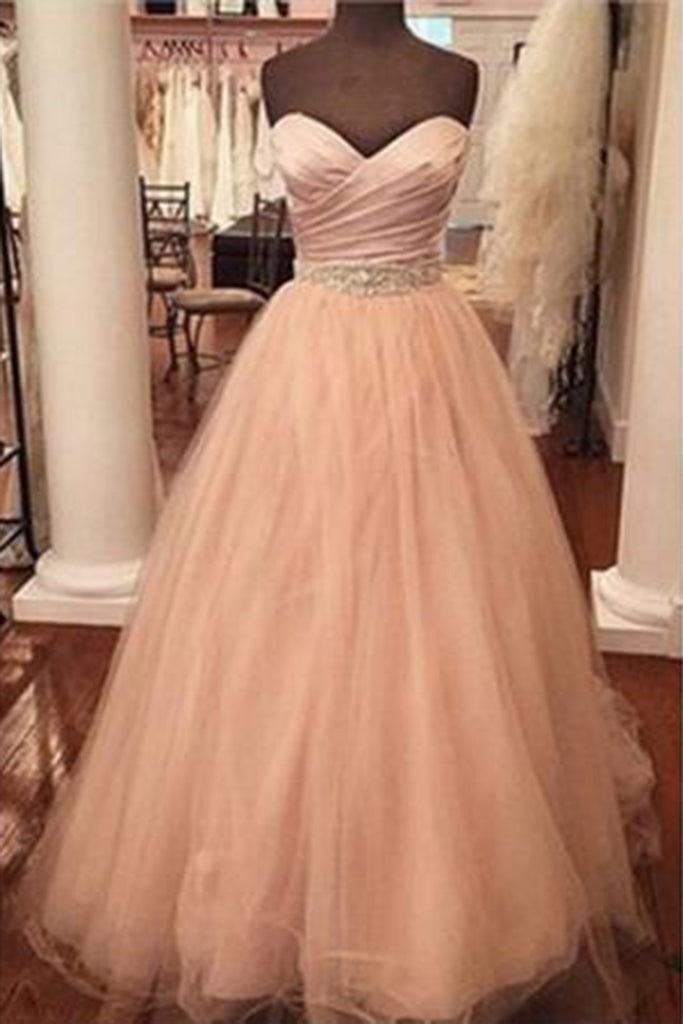 Champagne organza sweetheart sequins A-line long dresses,formal dresses for teens - occasion dresses by Sweetheartgirls
