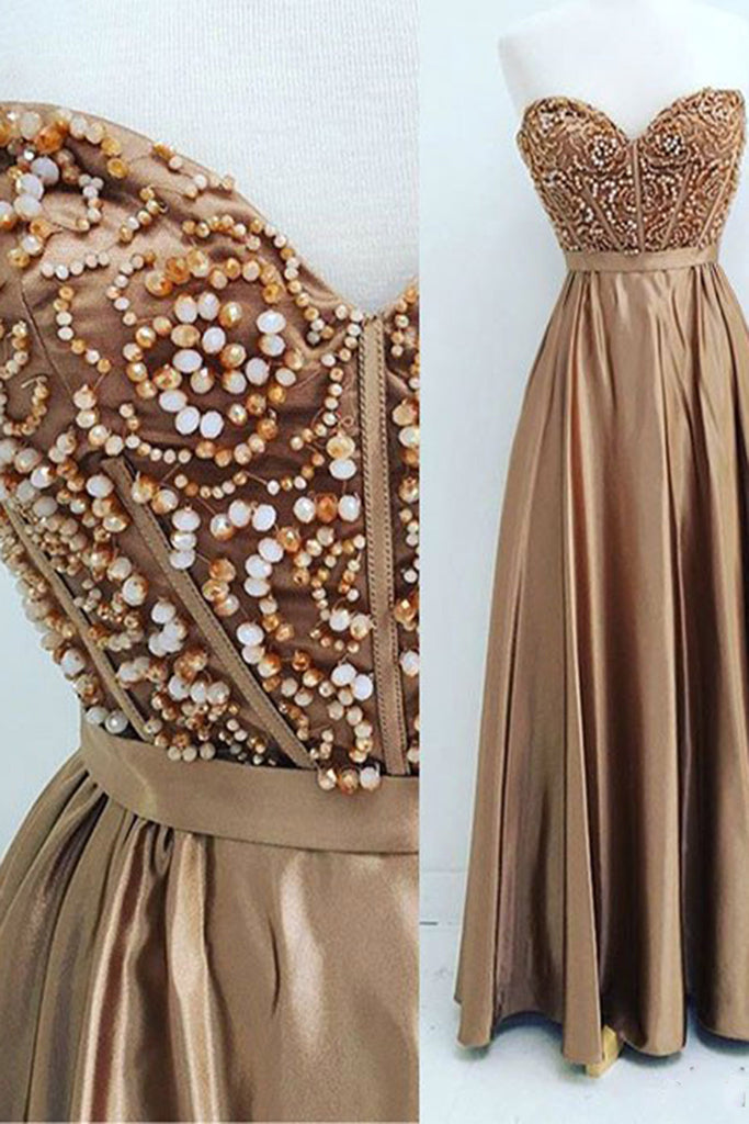 Chocolate satins sweetheart beading long dress,evening dresses for teens - prom dresses 2018
