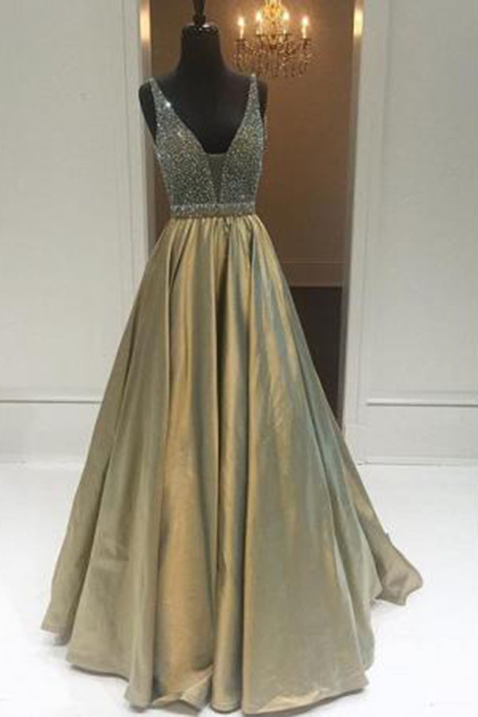 Bronze V-neck sequins open back A-line  long prom dresses for teens,elegant evening dress with straps - occasion dresses by Sweetheartgirls
