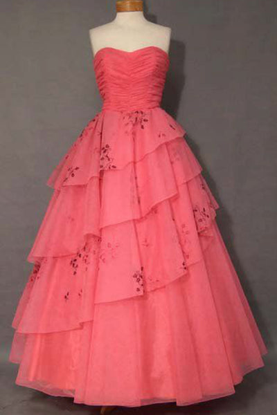 Coral chiffon sweetheart A-line tiered long dress vintage dress - occasion dresses by Sweetheartgirls