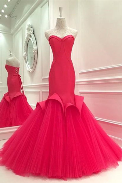 Hot pink tulle sweetheart mermaid long prom dresses for teens,evening dresses - prom dresses 2018