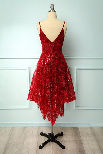 Burgundy Lace Sequin V Neck Short Prom Dress, Homecoming Dress, Bridesmaid Dresses