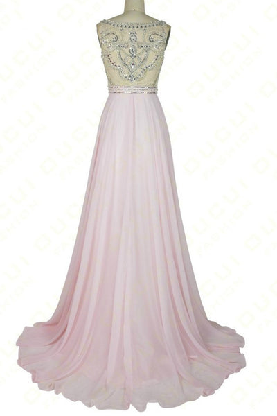 Pink chiffon sequins beading round neck see-through A-line  long prom dresses,formal dresses - Sweetheartgirls