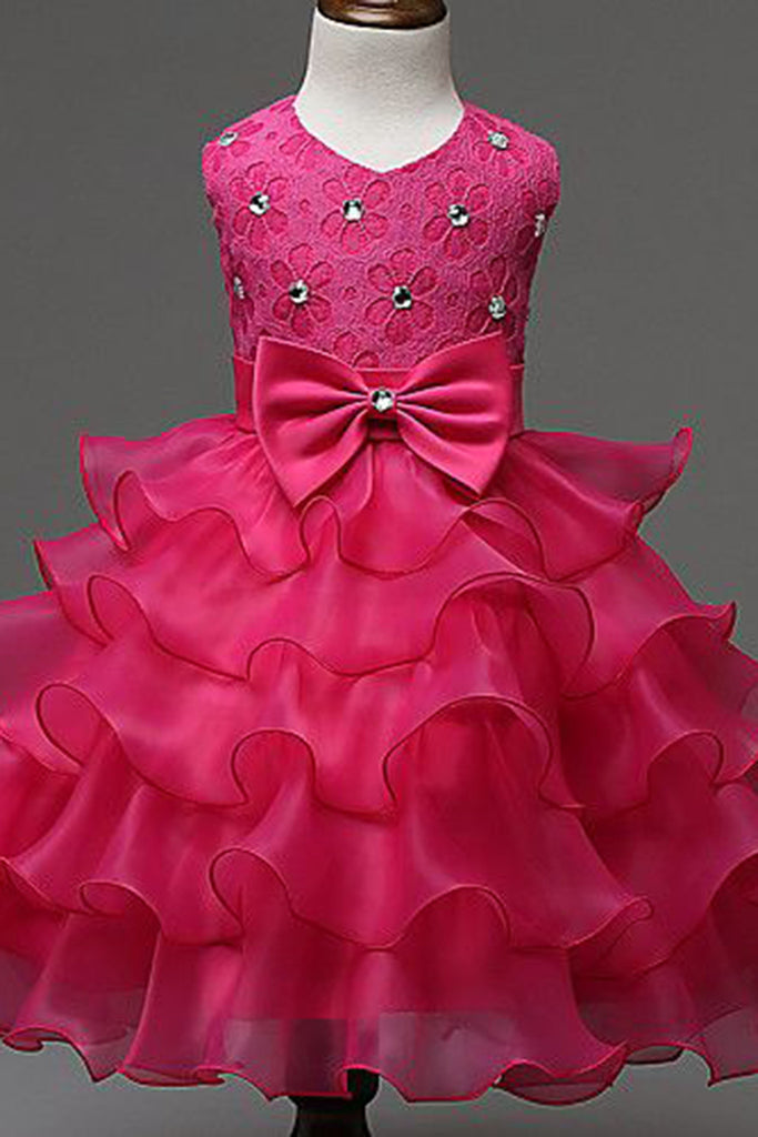 Princess hot pink organza bowknot girls dress with straps - prom dresses 2018