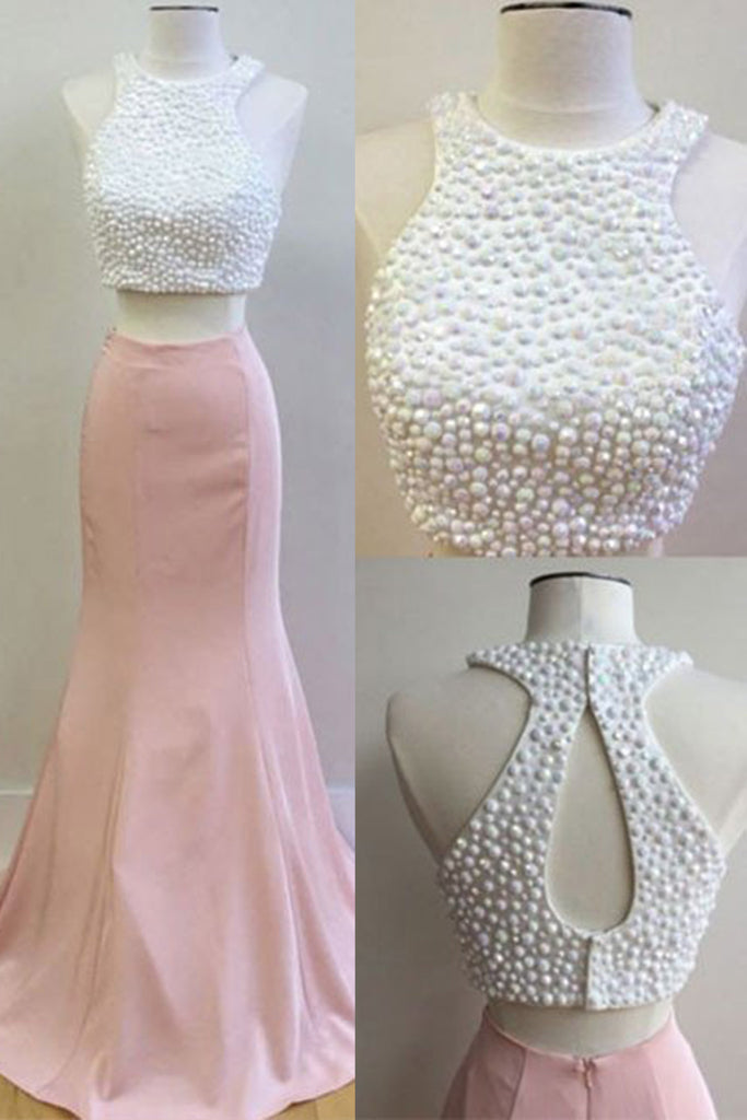 Sweet 16 Dresses | Pink chiffon two pieces pearl beading mermaid long dress,evening dresses for teens