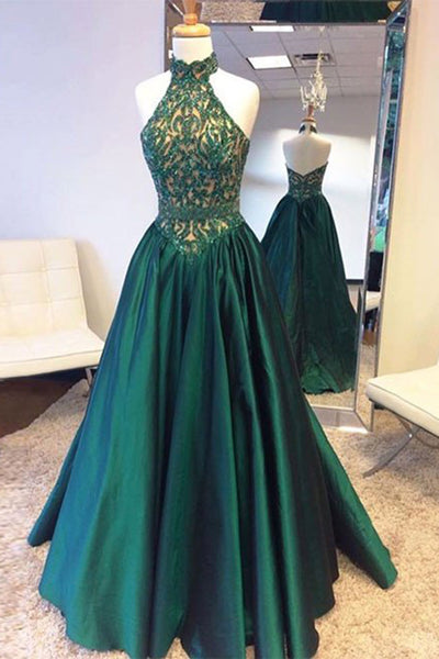 Sweet 16 Dresses | Green satins halter see-through beading backless long dress,evening dresses